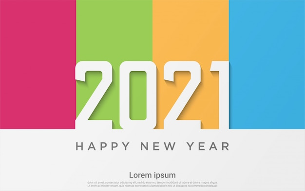 Happy new 2021 year colorful