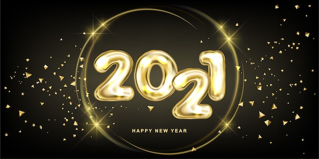 Happy new 2021 year. gala party illustration of metallic lettering.