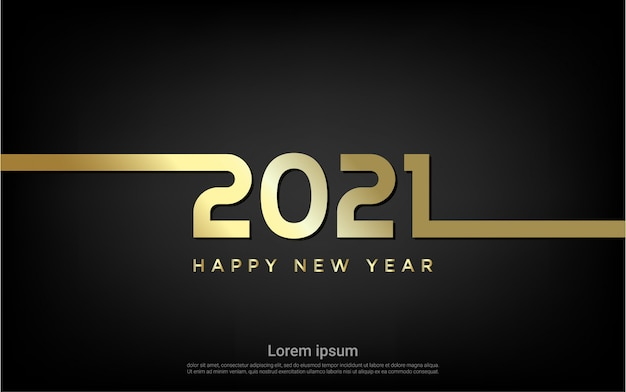 Happy new 2021 year gold line background