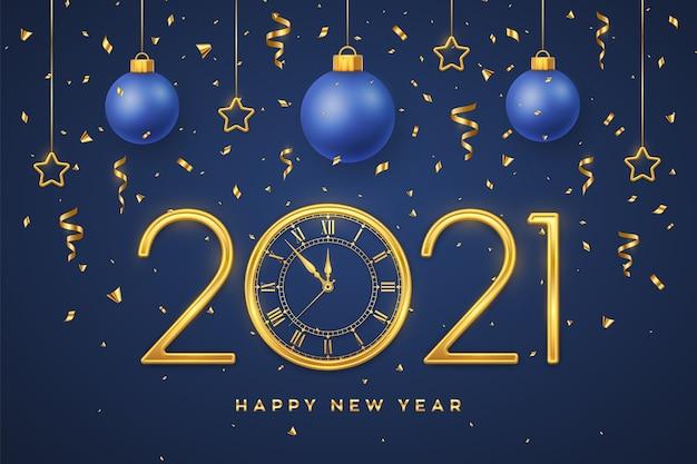 2021 년 새해 복 많이 받으세요. 골드 메탈릭 숫자 2021 및 카운트 다운 자정 시계.