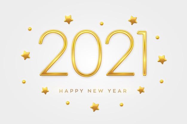 ハッピーニュー2021年。金の星とビーズの装飾が施されたゴールデンメタリックラグジュアリーナンバー2021。