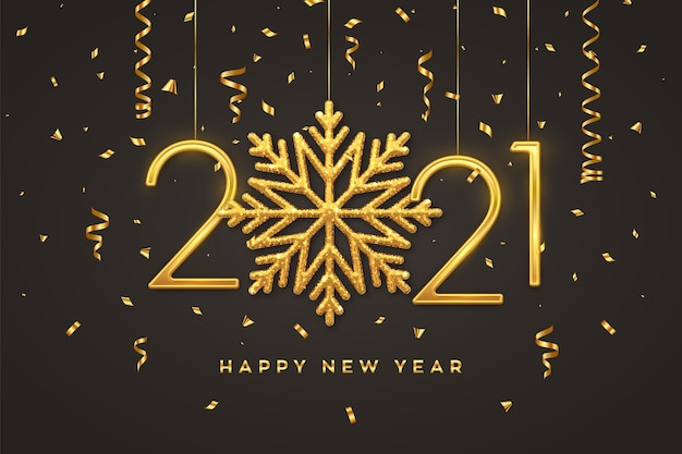 С новым 2021 годом. висячие золотые металлические цифры 2021 с сияющей снежинкой и конфетти на черном.