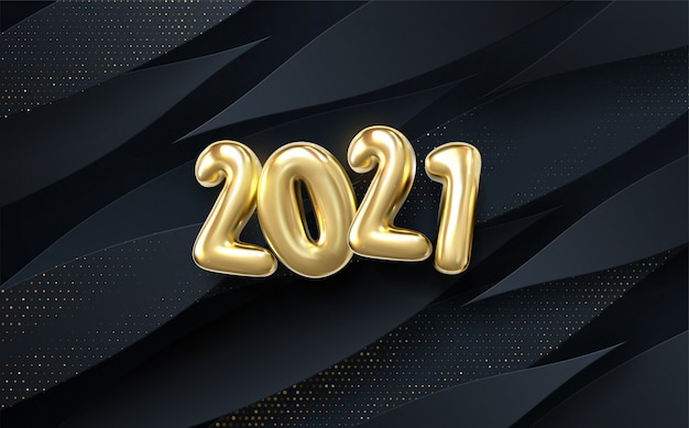 Happy new 2021 year. holiday. black paper cut background. abstract realistic papercut decoration textured with wavy layers and golden halftone effect pattern.