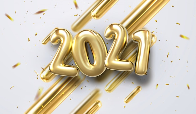 Happy new 2021 year.   holiday illustration of golden 3d geometric primitives and 2019 bubble numbers. festive sing with sparkling confetti glitters. trendy cover design