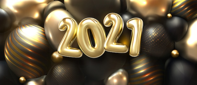 Happy new 2021 year. holiday   illustration of golden 3d numbers 2020 and abstract shimmering balls or bubbles. 3d