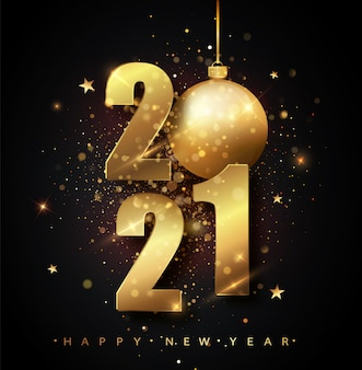 Happy new 2021 year. holiday illustration of golden metallic numbers 2021. gold numbers design of greeting card of falling shiny confetti. new year and christmas posters.