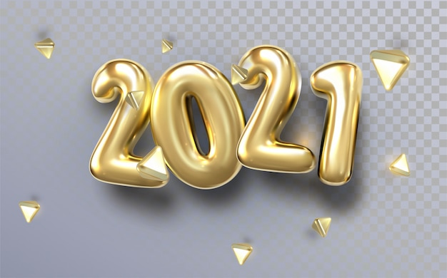 Happy new 2021 year. holiday illustration of golden metallic numbers 2021. realistic 3d sign. festive poster or banner design
