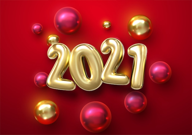 Happy new 2021 year. holiday  illustration of golden metallic numbers 2021 with christmas balls, stars. realistic 3d sign.