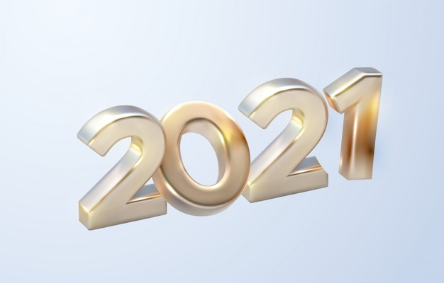 Happy new 2021 year. holiday illustration of golden metallic numbers 2021.