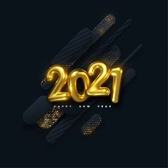 Happy new 2021 year. holiday illustration. golden numbers on black paper shapes background textured with glittering particles. layered papercut decoration. festive banner template