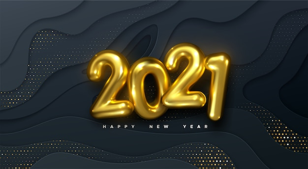 Happy new 2021 year. holiday illustration. golden numbers on black wavy paper shapes background textured with glittering particles. layered papercut decoration