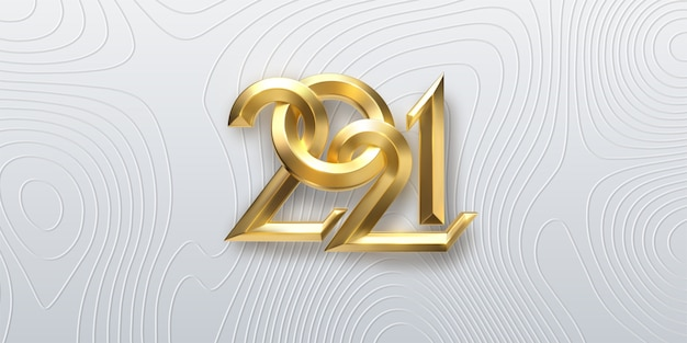 Happy new 2021 year. holiday illustration of golden and silver metallic calligraphy numbers