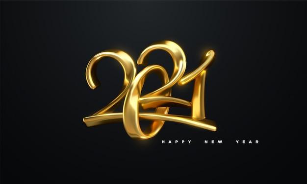 2021 년 새해 복 많이 받으세요. 황금 금속 붓글씨 숫자 2021의 휴일 그림. 현실적인 3d 기호