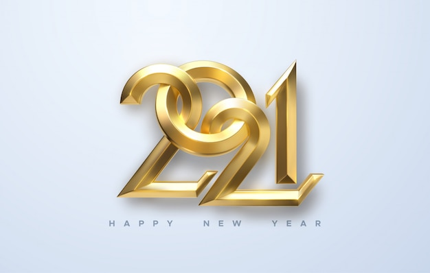 2021 년 새해 복 많이 받으세요. 황금 금속 붓글씨 숫자 2021의 휴일 그림.