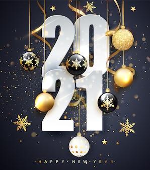 2021 년 새해 복 많이 받으세요. 숫자 2021의 휴일 그림입니다. 골드 숫자 인사말 카드의 디자인입니다.