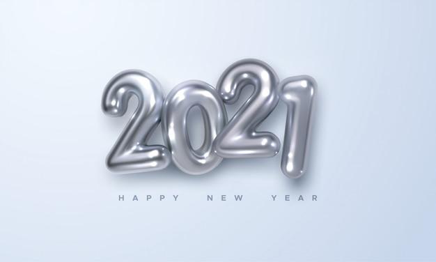 ハッピーニュー2021年。銀メタリック数字2021の休日イラスト。リアルな3 dサイン。お祝いポスターやバナーデザイン