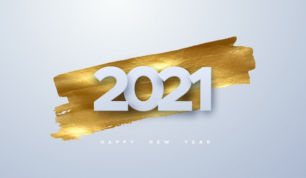 Happy new 2021 year. holiday illustration of paper cut numbers on golden paint background. festive event banner.
