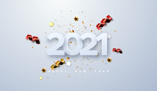 Happy new 2021 year. holiday illustration of paper cut numbers with sparkling confetti particles, golden stars and streamers.