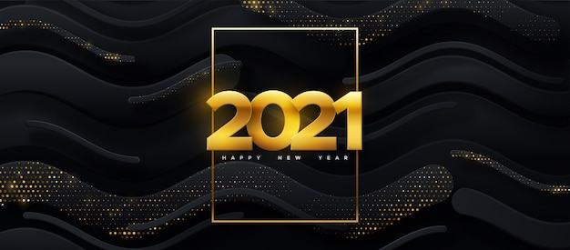 Happy new 2021 year. holiday illustration. papercut golden numbers on black geometric background. festive event banner.