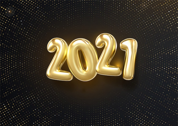 Happy new 2021 year. holiday   illustration of silver metallic numbers 2019 and glittering halftone pattern. realistic 3d sign.