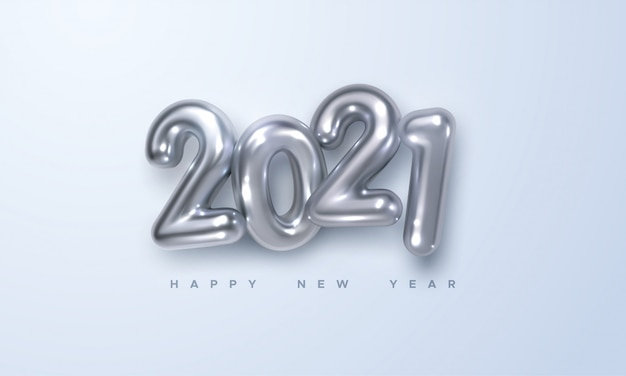 Happy new 2021 year. holiday illustration of silver metallic numbers 2021. realistic 3d sign. festive poster or banner design