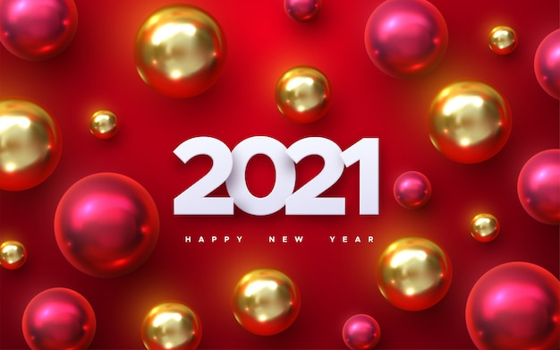 Happy new 2021 year. holiday illustration of white paper numbers 2021 with red and golden balls. realistic 3d sign