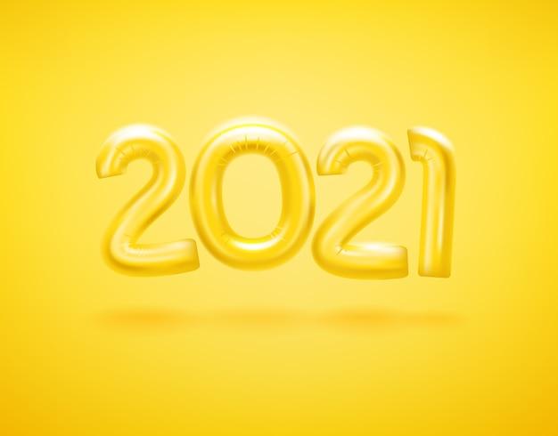 風船で幸せな新しい2021年のロゴ