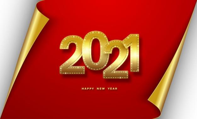 2021 년 새해 복 많이 받으세요. 빨간색에 다이아몬드와 현실적인 금 글자.
