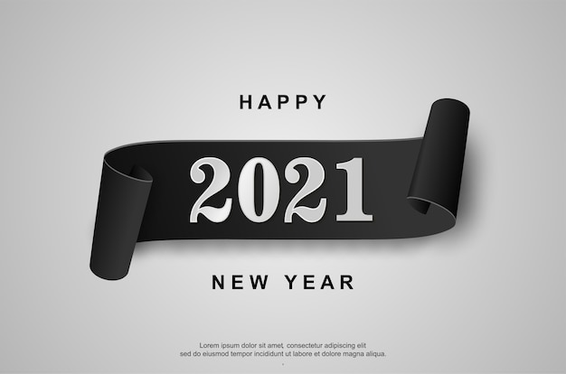Happy new 2021 year on white background.