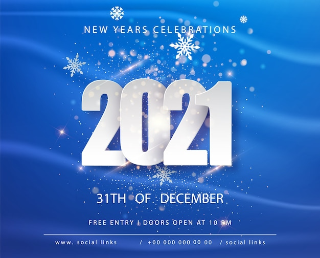 Happy new 2021 year. winter holiday blue greeting card design template. new year holiday posters. happy new year blue festive background.