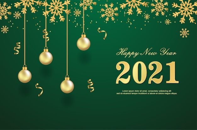 Happy new 2021 year with balls on green background.