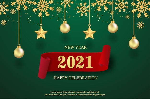 Happy new 2021 year with balls and star background.