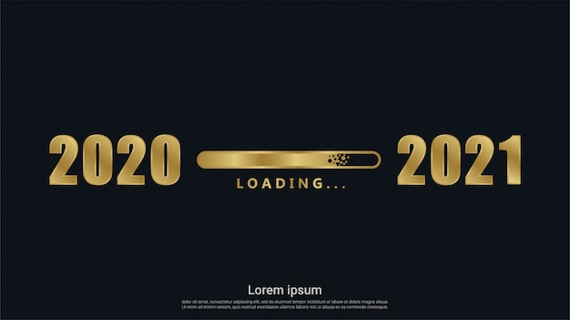Happy new 2021 year with gold loading background