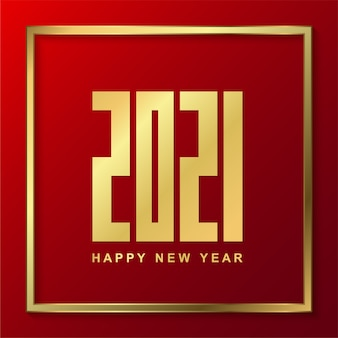 Happy new 2021 year with gold on red background