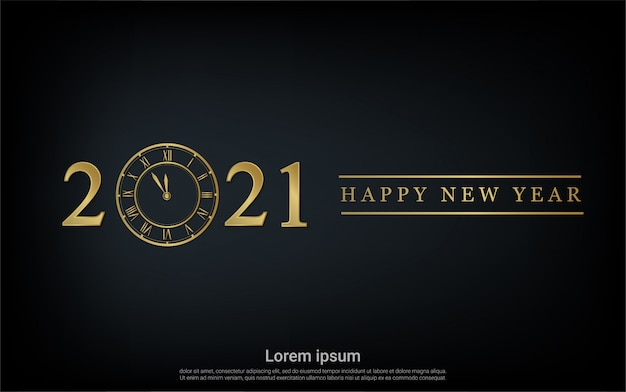 Happy new 2021 year with gold watch background