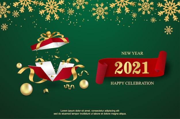 Happy new 2021 year with open gift box background.