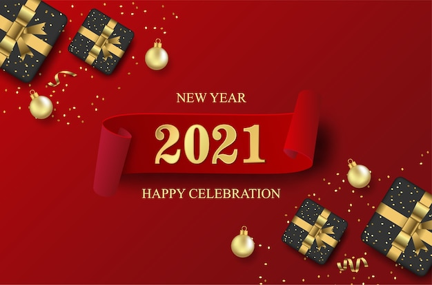 Happy new 2021 year with open gift box and ball background.