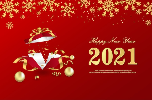 Happy new 2021 year with open gift box on red background.