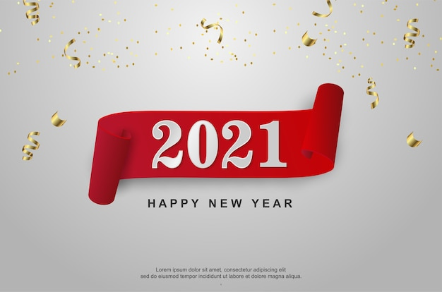Happy new 2021 year with ribbon on white background.