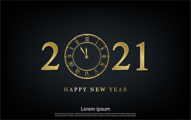 Happy new 2021 year with watch background