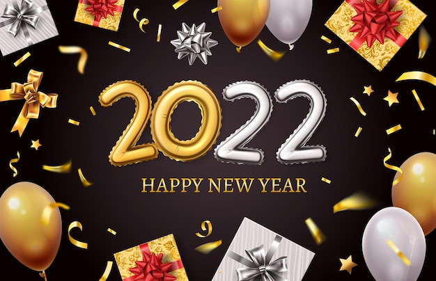 Happy new 2022 year. banner with realistic golden balloon numbers, gift boxes, gold bows and confetti. holiday greetings card vector design. golden christmas banner and new year 2022 illustration