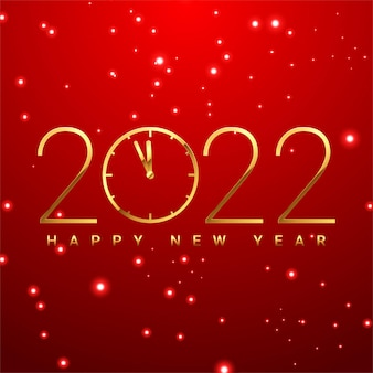 Happy new 2022 year elegant gold text with light