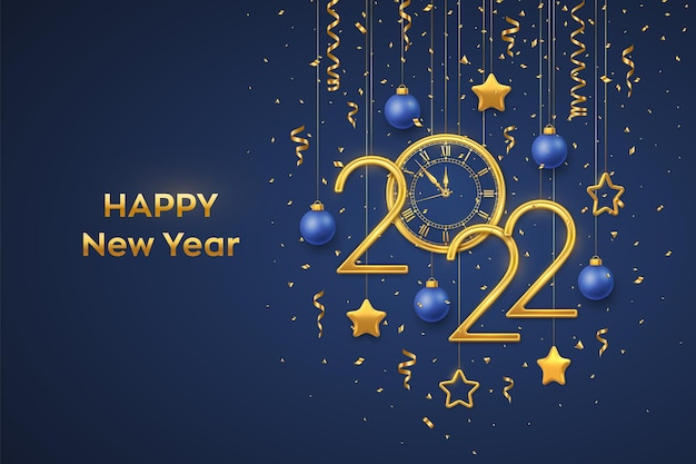 Happy new 2022 year. gold metallic numbers 2022 and watch with roman numeral and countdown midnight, eve for new year. hanging golden stars and balls on blue background. realistic vector illustration.