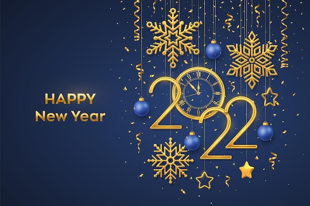 Happy new 2022 year. gold metallic numbers 2022 and watch with roman numeral and countdown midnight, eve for new year. hanging golden stars, snowflakes, balls on blue background. vector illustration.