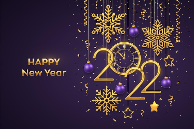 Happy new 2022 year. gold metallic numbers 2022 and watch with roman numeral and countdown midnight, eve for new year. hanging golden stars, snowflakes, balls on purple background. vector illustration