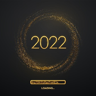 ハッピーニュー2022年。きらめく背景にローディングバーを備えたゴールデンメタリックラグジュアリーナンバー2022。キラキラと破裂する背景。グリーティングカード、お祝いのポスターまたはバナー。ベクトルイラスト。