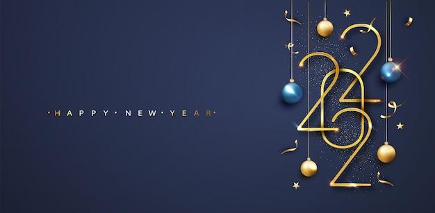 2022년 새해 복 많이 받으세요. 파란색 배경에 공과 색종이가 있는 황금 숫자 2022. 새 해 인사말 카드 또는 배너 템플릿입니다. 벡터