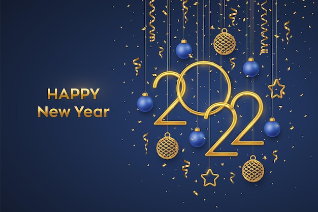 Happy new 2022 year. hanging golden metallic numbers 2022 with shining 3d metallic stars, balls and confetti on blue background. new year greeting card, banner template. realistic vector illustration.