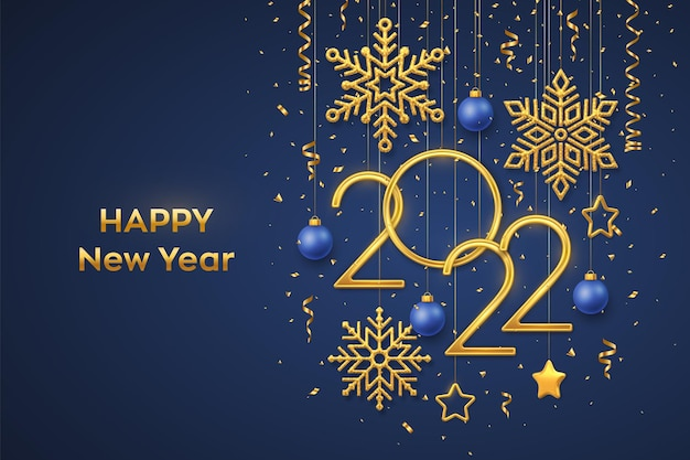 Happy new 2022 year. hanging golden metallic numbers 2022 with shining snowflakes, 3d metallic stars, balls and confetti on blue background. new year greeting card or banner template. vector.
