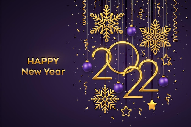 Happy new 2022 year. hanging golden metallic numbers 2022 with shining snowflakes, 3d metallic stars, balls and confetti on purple background. new year greeting card or banner template. vector.